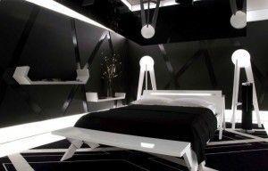 dormitorio con paredes negras