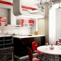 muebles de cocina negro y rojo