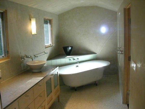 paredes de baño chico revestidos con cemento alisado ...