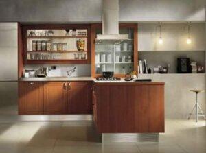 paredes de la cocina revestidas con cemento alisado