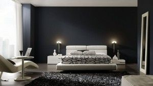 paredes negras muebles blancos