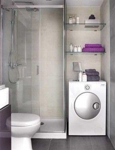 baño peueño con lavarropas