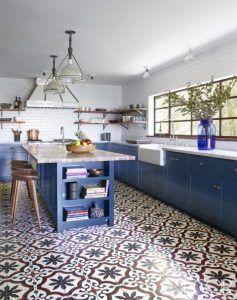cocina azul estilo vintage