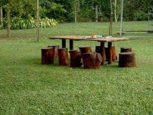 mesas y bancos rusticos para jardin
