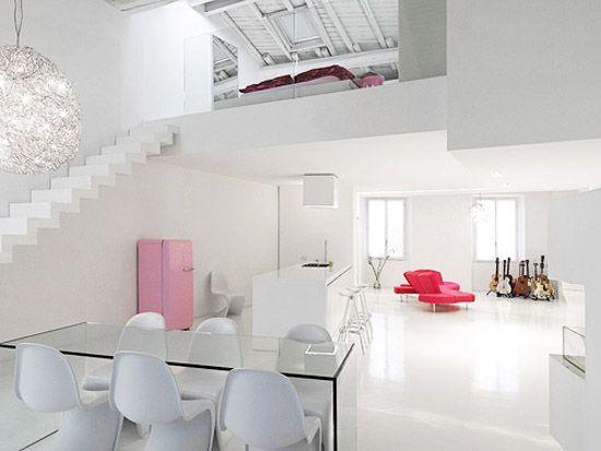Monoambiente con entre piso minimalista casa web Pisos modernos para casas minimalistas