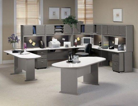 Elegantes Escritorios De Oficina Modernos.Decoracion De Oficina Moderna Con Gris Casa Web