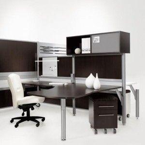 muebles grises y negros en la oficina