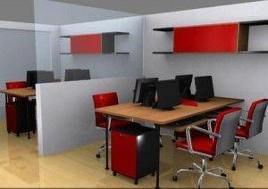 oficina gris con toques de color rojo