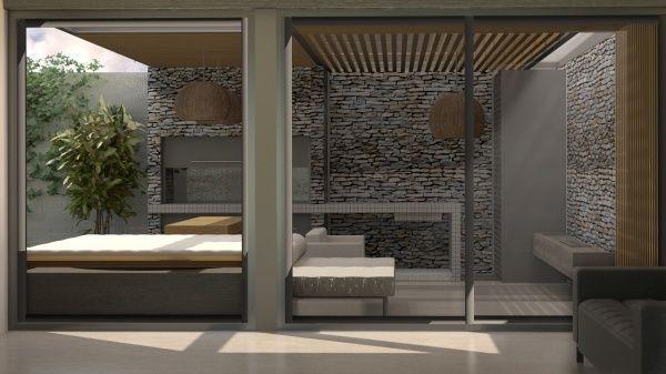 Quincho minimalista casa web for Diseno de bano minimalista