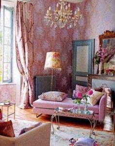 sala vintage rosa