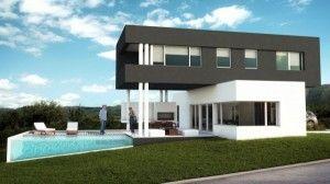 casa moderna gris y blanca