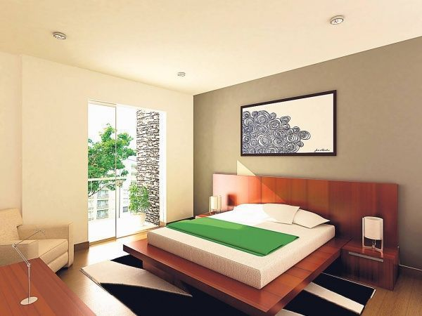 dormitorio matrimonial con piso laminado