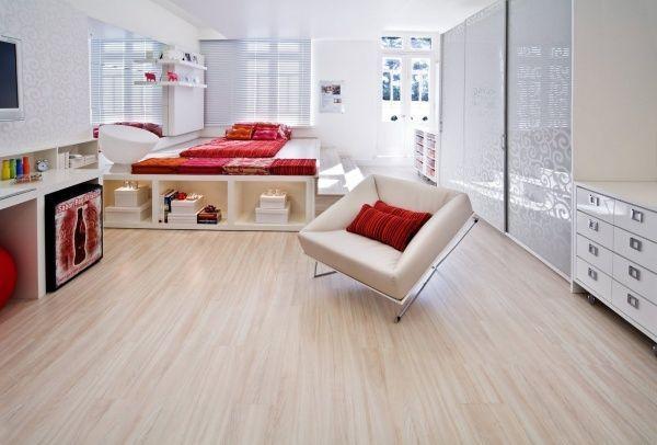 dormitorio moderno con piso laminado