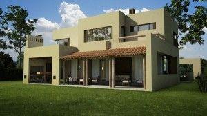 exterior casa moderna y rustica verde palido