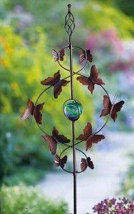 Adornos de exterior para jardin figura de metal mariposas