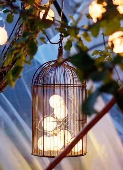jaula con luces para jardin
