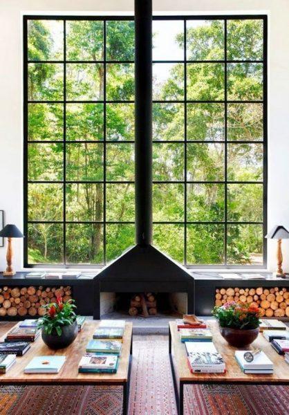ventanales divididos en cuadros