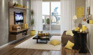 sala de estar chica marron y amarilla