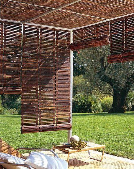 Cortinas de madera para galerias de casas