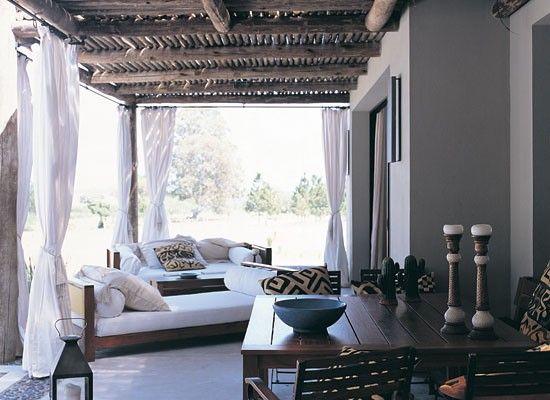 cortinas de tela para galerias de casas