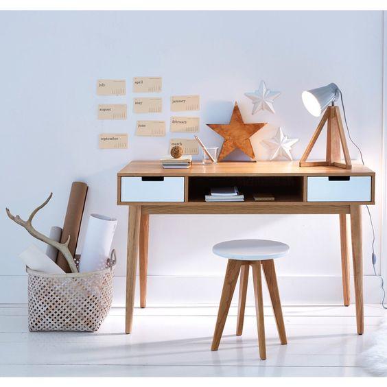 escritorio silla y banco - muebles de estilo nordico modernos