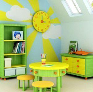 cuarto de juegos para niños colores vivos