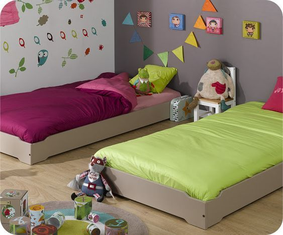 cama al ras del piso para chicos - muebles montessori