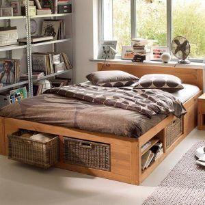 cama de dos plazas de madera moderna