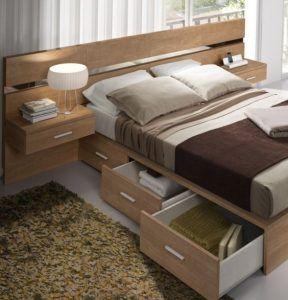 cama matrimonial de madera con cajones