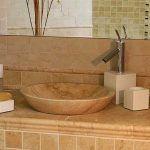bacha redonda para baño de Marmol Travertino