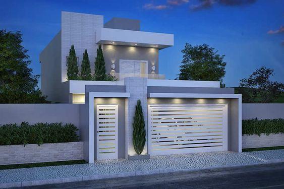 Fachada casa dos pisos con cochera casa web for Fachadas de casas modernas de 6 metros