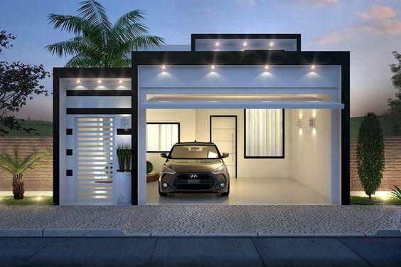 fachada casa pequeña con cochera doble