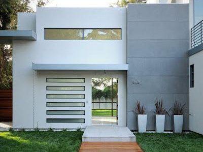 fachadas casas pequeñas minimalista moderna de dos planta