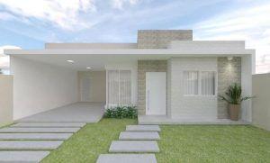 fachadas casas pequeñas una planta blanca