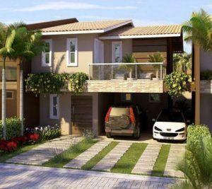 frente de casas pequeña de dos plantas estilo clasico