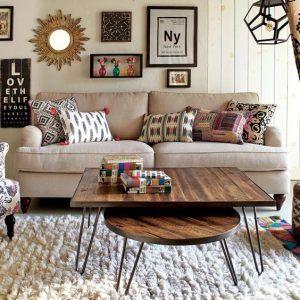 mesa ratona de madera y hierro redondas y rectangulares
