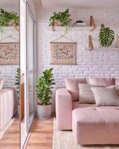 sala de estar rosa lino