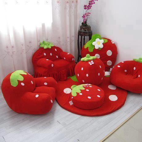 juego de puff infantil de frutilla