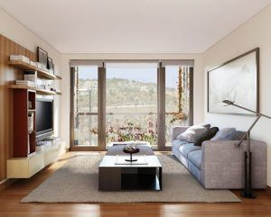 ventana de pvc en la sala de estar color gris