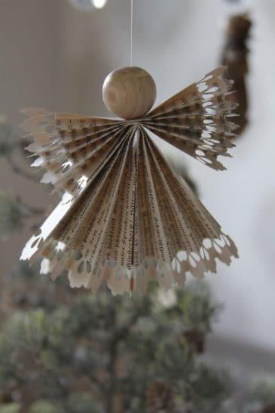 angel de papel para arbol de navidad