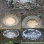 estanque de jardin con reuda de goma