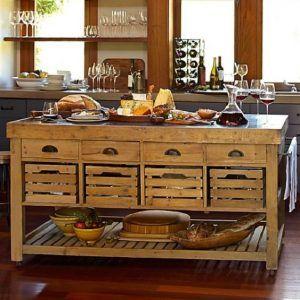 isla para cocina campestre de madera