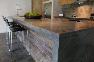 isla para cocina de concreto cemento alisado