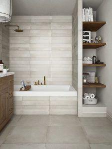 estantes de madera para baños