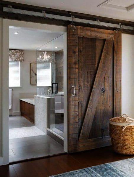 puertas madera reciclada tipo granero para baño