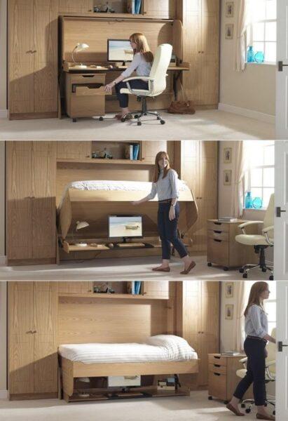 Muebles Inteligentes y funcionales Escritorio se conviernte en dormitorio