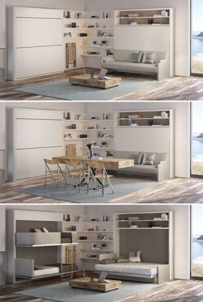 Muebles Inteligentes y funcionales Sala de estar se convierte en dormitorio