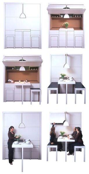 Muebles Inteligentes y funcionales cocina con mesa y sillas escondidas