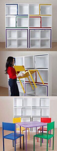 Muebles Inteligentes y funcionales estanteria con sillas y mesa