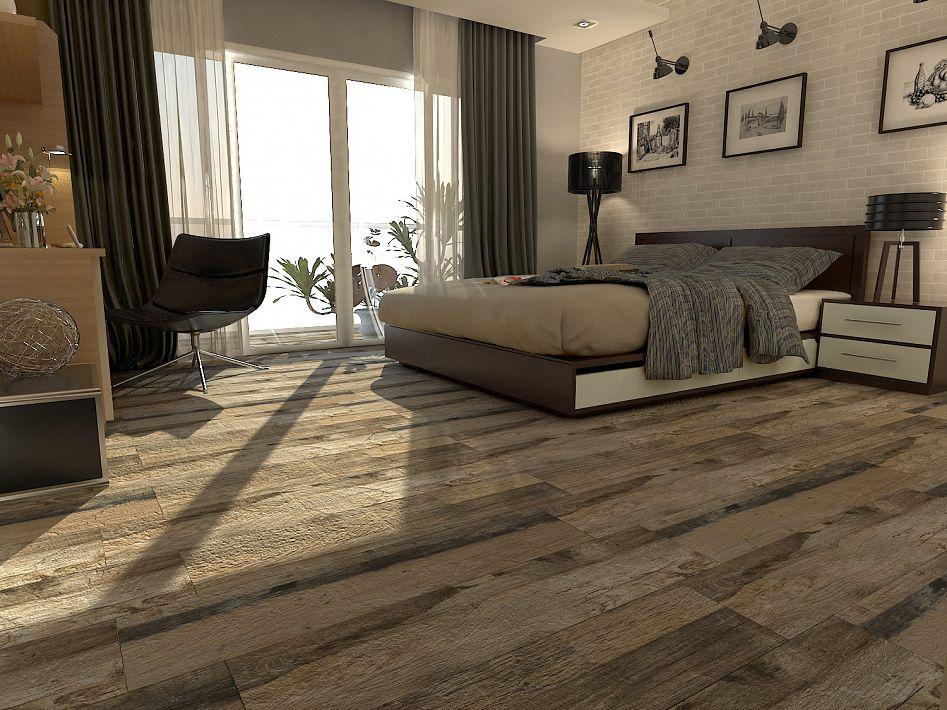 dormitorio con porcelanato simil madera